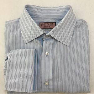 Thomas Pink Dress Shirt 16.5/35 Blue Stripe Men's